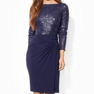 Ralph Lauren Sequin Mesh & Jersey Dress, US 2